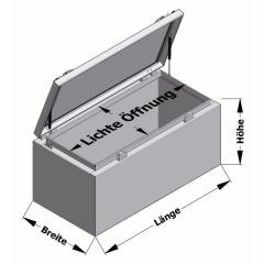 Pickupbox mit Gasdruckfeder Transportboxen.at Skizze