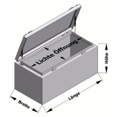Werkzeugkiste Gasdruckfeder Transportboxen.at Skizze